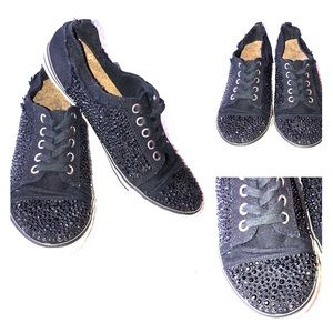 """Shoes - Black Bling Beaded Sequin """"converse like"""" Sneakers"""